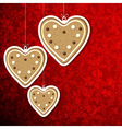Christmas background with gingerbread hearts vector image