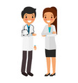 couple doctors characters icon vector image