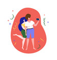 couple taking selfie photo holding camera vector image vector image