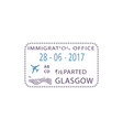 departed from glasgow poland visa stamp isolated vector image vector image