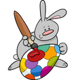 easter bunny painting egg cartoon vector image vector image