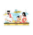 family cooking food together vector image vector image