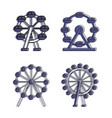 ferris wheel icon set color outline style vector image vector image