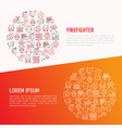 firefighter concept in circle with thin line icons vector image vector image
