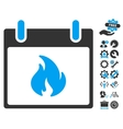 Flame Calendar Day Icon With Bonus vector image vector image