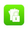 folders with padlock icon digital green vector image vector image