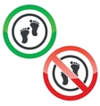 Footprint permission signs vector image