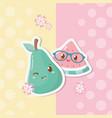 fresh watermelon and pear fruits kawaii characters vector image vector image