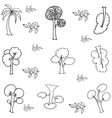 Hand draw tree various of doodles vector image vector image