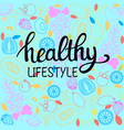 healthy food poster or banner with hand drawn vector image vector image