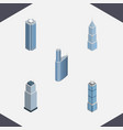 isometric construction set of apartment tower vector image vector image