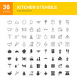 kitchen utensils line web glyph vector image