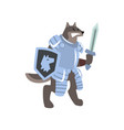 knight dog character with shield and sword vector image