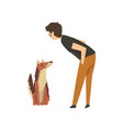 male pet owner man training or playing with his vector image vector image
