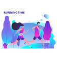 man and woman running in park fitness workout and vector image vector image