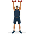 man doing workout using dumbbell in a gym vector image