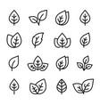 natural set black leaf line icons logo vector image vector image