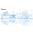 Outline Luanda Skyline with Blue Buildings vector image vector image