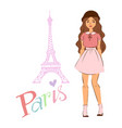 paris and girl in fashion cloths in front vector image
