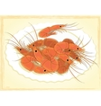 Prepared shrimps on the white plate vector image