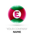 realistic letter e logo in colorful circle vector image