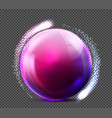 realistic violet glass sphere transparent vector image