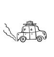retro car doodle road trip cartoon car vector image