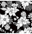 seamless pattern with monochrome graphic flowers vector image vector image