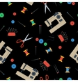 Seamless Pattern with sewing equipment on black