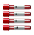 set glassware tube filled blood with different vector image vector image