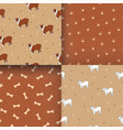 set of awesome seamless pattern with cute dog vector image vector image