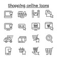 shopping online icon set in thin line style vector image vector image