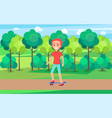 skateboarder training in green summer spring park vector image vector image