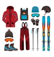 Skiing equipment icons vector image vector image