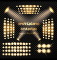 stadium spotlights gold set vector image vector image