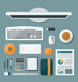 Top view computer of desk background Flat design vector image