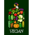 Vegan healthy vegetables cutting board icon vector image