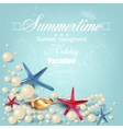 Vintage holiday banner with pearls and starfishes vector image vector image