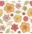 warm fall lineart flowers seamless pattern vector image