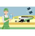 woman farmer controls an autonomous harvester vector image vector image