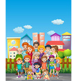 Family members standing on the street vector image