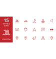 15 location icons vector image vector image