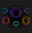 3d circle neon set big data visualization vector image