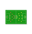 a green football field with a tactical scheme of vector image vector image
