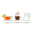 a set of drinks for breakfast vector image