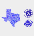 airplane mosaic texas state map and grunge vector image vector image