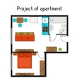 Architectural project of apartment with furniture vector image vector image