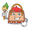 artist hand bag character cartoon vector image
