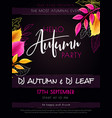 autumn party poster template with hand vector image