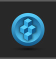 blockchain logo for cryptocurrency on a round vector image
